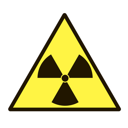 Vector image of a sign that warns about radiation hazard on white background