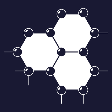 Vector image of a molecule. Icon of molecular research in chemistry and medicine. Vector white icon on dark blue background.