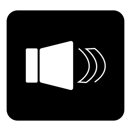 Sound notification vector icon.  Vector white illustration on black background