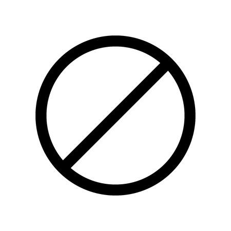 Icône de vecteur interdisant le signe. Impossible. Arrêtez et interdisez le signe. Icône de vecteur noir sur fond blanc. Banque d'images - 88555541