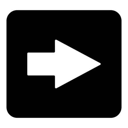 Vector arrow icon pointing to the right. Vector white illustration on black background