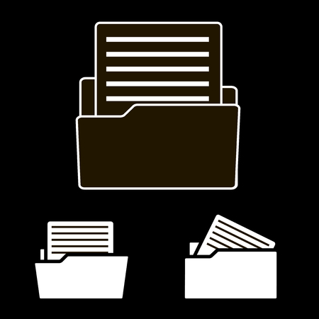 Vector icon of the archive document on black background. Document in the folder. Business report. Ilustração