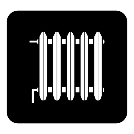 Vector icon of radiator, battery for room heating. Vector white illustration on black background