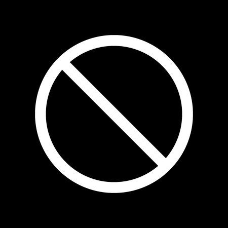Icône de vecteur interdisant le signe. Impossible. Arrêter et bannir l'icône sign.Vector blanc sur fond noir. Banque d'images - 88555561