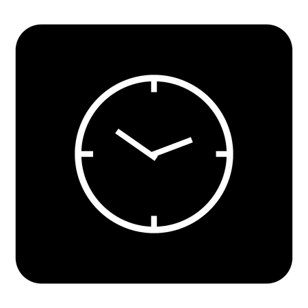 Vector icon of clock face. Vector white illustration on black background Ilustrace