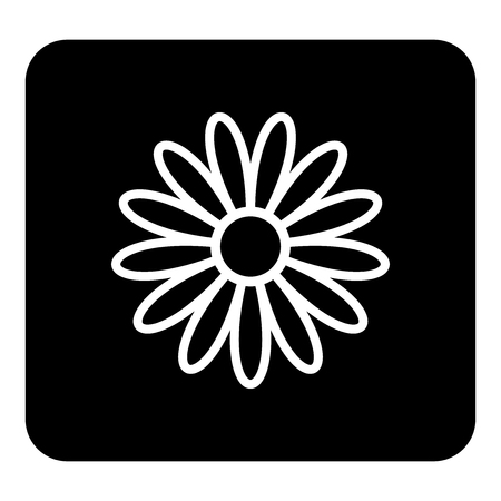 Vector illustration flower icon. Vector white illustration on black background