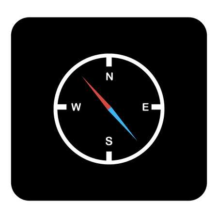 Vector compass icon. Vector white illustration on black background