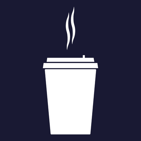 Vector icon of a disposable cup of coffee. A stale coffee drink in the dishes. Vector white icon on dark blue background.