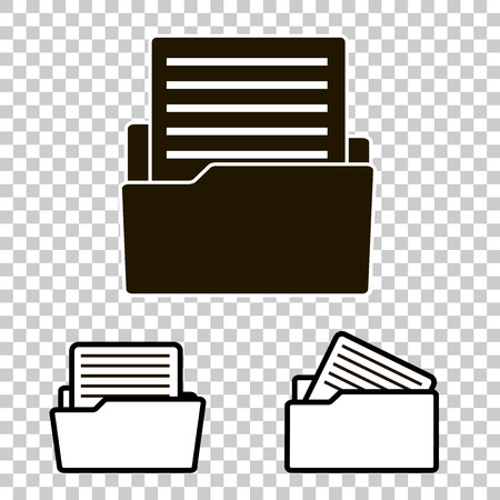 Vector icon of the archive document. Document in the folder. Business report.