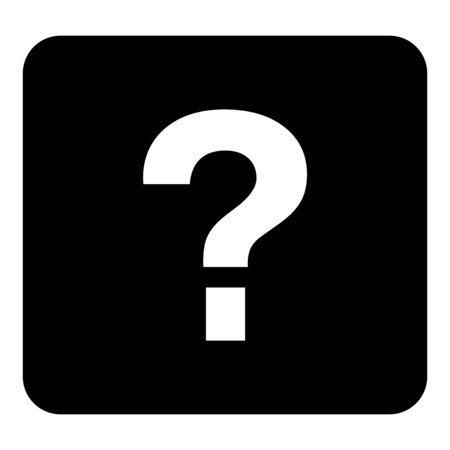Vector question icon. Vector white illustration on black background