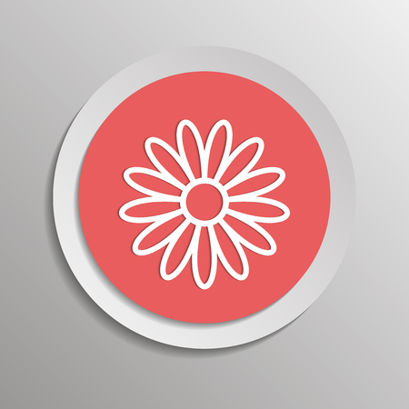 Vector illustration flower icon. Vector illustration on a sticker with shadow design