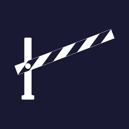 Vector icon barrier. The road barrier. Vector white icon on dark blue background. Vectores