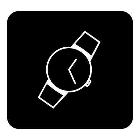 Wrist watch icon. Vector white illustration on black background