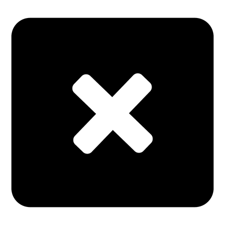 Cross prohibition vector. Vector white illustration on black background Imagens
