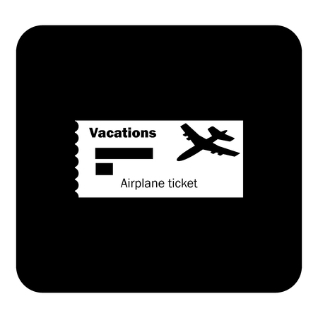 Vector icon airplane ticket. Vacation.  Vector white illustration on black background