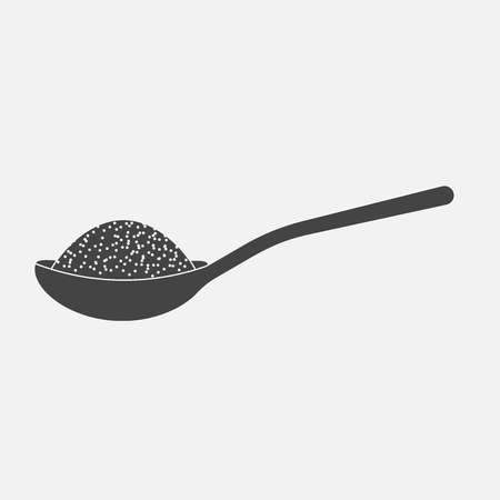 Vector icon of a spoon with sugar or salt Illustration