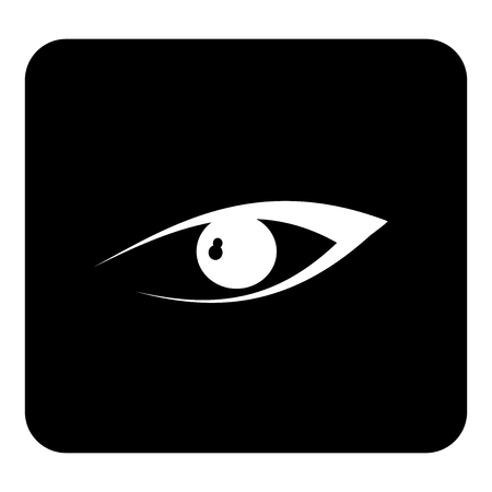 Vector Eye. Vector white illustration on black background Illustration