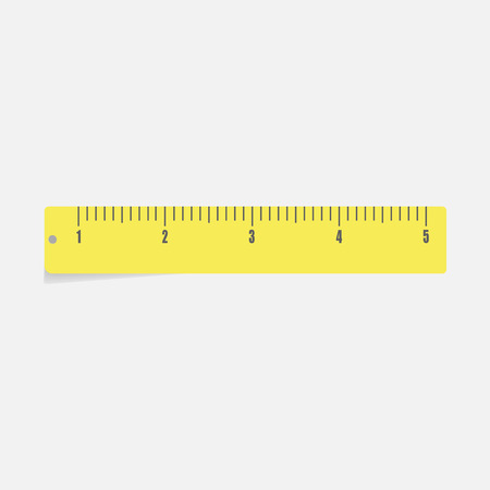 Vector icon yellow  ruler. Metric system. School measuring lance. Measuring tape. Tape measure Illustration