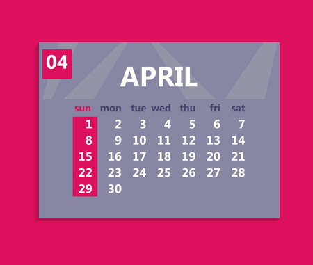 April calendar 2018. Week starts on Sunday. Business vector illustration template for one month 2018 years. Illustration