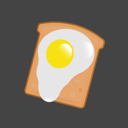 Vector image of bread and egg. On a piece of bread is fried egg