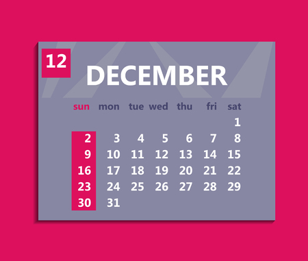 December calendar 2018. Week starts on Sunday. Business vector illustration template for one month 2018 years.