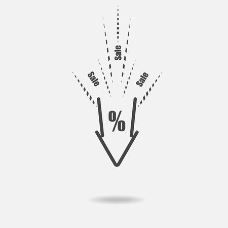 Icona di vettore dei prezzi in calo. Sconti. Vendita nel negozio. Il crollo del prezzo. Il segno di percentuale. L'indicare verso il basso. Archivio Fotografico - 89610015