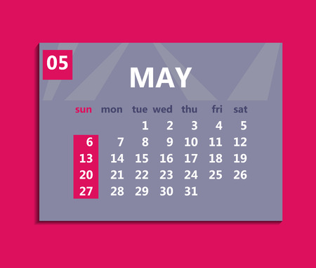 May calendar 2018. Week starts on Sunday. Business vector illustration template for one month 2018 years.