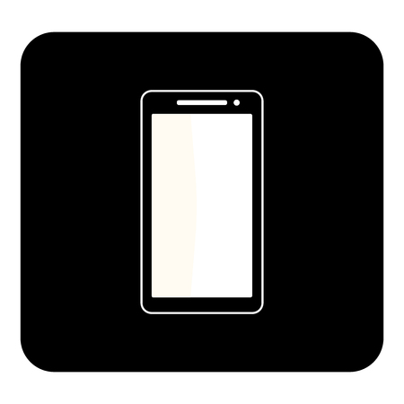 Vector mobile phone icon.Vector white illustration on black background Illustration