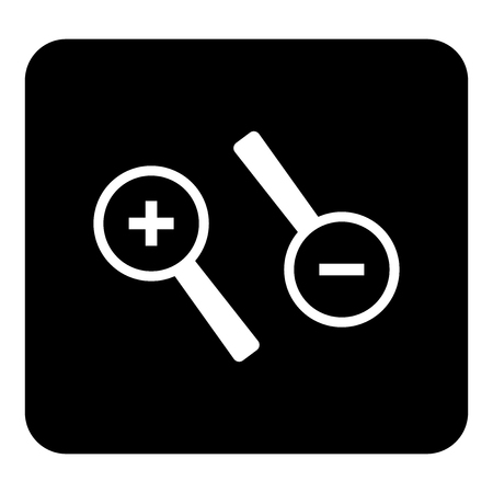 Vector icon of a magnifying glass, zoom. Object decrease, distance. Vector white illustration on black background