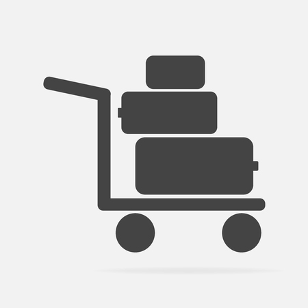 Vector icon shows the presence of porters. Trolley with things, suitcases Vector icon illustration. Çizim