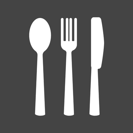 Knife, fork, spoon. Cutlery. Table setting. Vector icon illustration