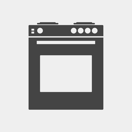 Vector icon gas stove with oven for a kitchen. Black cooker on white background. Home Appliances Illustration