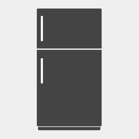 Vector icon of  black refrigerator on white background. Home Appliances