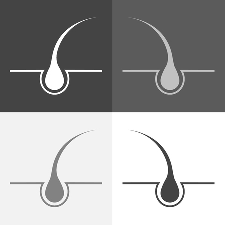 Vector icon set of hair. Vector white icon hair follicle on  white-grey-black color. Çizim