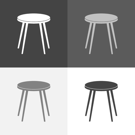Vector set image icon stool. Chair icon. Vector white icon on white-grey-black color. Illustration