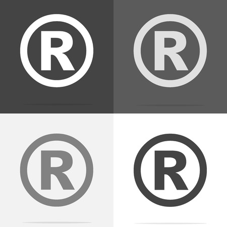 Vector icon Registered Sign.  Set of registered sign icon on white-grey-black color. 写真素材 - 92192026