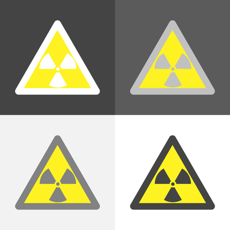 Vector set image of a sign that warns about radiation hazard on on white-grey-black color.