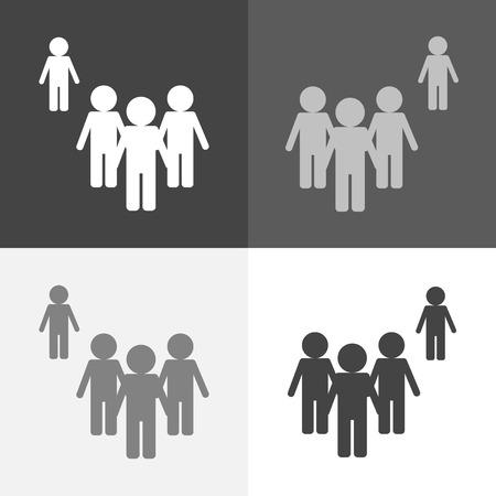 Immagine stabilita di vettore di una folla della gente e di una persona che sta da parte. Una persona diversa dalle altre nell'essere fuori dalla folla. Simbolo persone. Segni di folla sul colore bianco-grigio-nero.