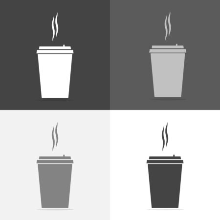 Vector icon set of a disposable cup of coffee. A stale coffee drink in the dishes. Vector white icon on  white-grey-black color Reklamní fotografie