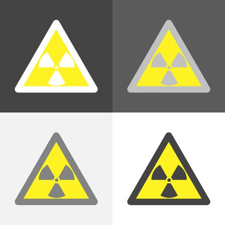 Vector set image of a sign that warns about radiation hazard on on white-grey-black color. Stok Fotoğraf