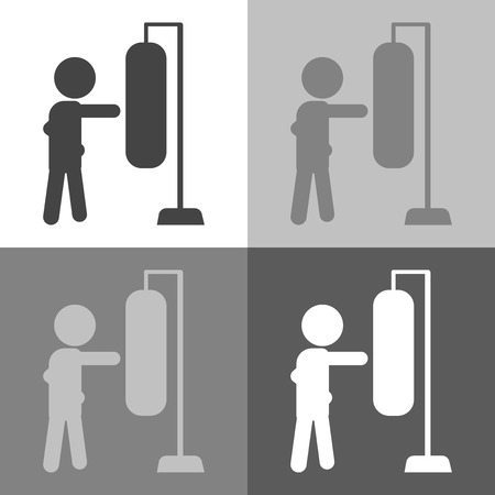 Boxer beats boxer pear, sandbag. Vector set Boxer beats icon illustration on white-grey-black color. Illustration