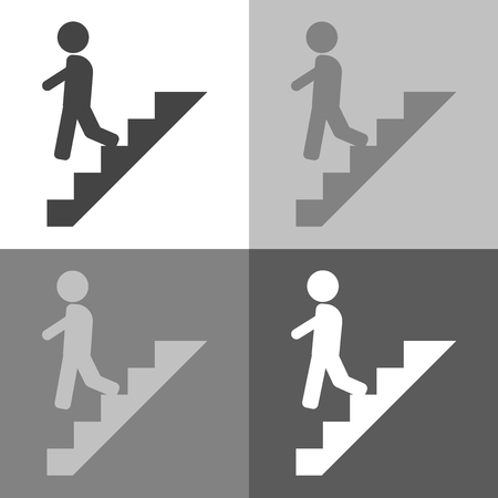 Vector set  icon of a man goes down the stairs, on the career ladder on white-grey-black color. 矢量图像