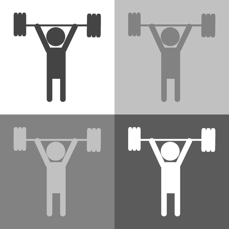 Weightlifter set  icon person on white-grey-black color.