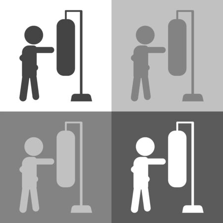 Boxer beats boxer pear, sandbag. Vector set Boxer beats icon illustration on white-grey-black color. Stock Photo