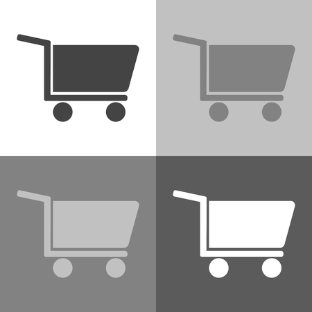 Shopping cart. Vector set icon - trolley for goods shows the presence of a store, hypermarket, outlet on white-grey-black color Vettoriali