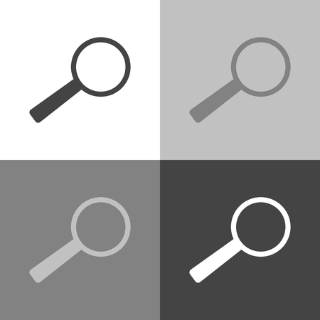 Search and magnify icon. Magnifier or loupe sign. Set vector icon on white-grey-black color  Illustration