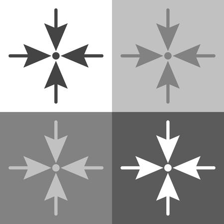 Pijlen die de richting naar één punt aan vier kanten wijzen. Vector ingesteld pictogram op wit-grijs-zwarte kleur Stock Illustratie