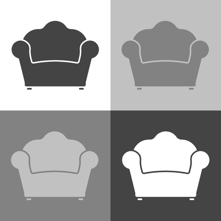 Vector image armchair. Vintage Retro Armchair Icon. Vector white icon set on white-grey-black color
