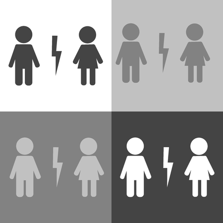 A Vector icon set divorced couple. Man and woman characters quarrel. Symbol of marriage problems on white-gray-black color.
