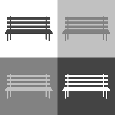 Vector image of the bench. Vector icon set on white-grey-black color Illustration